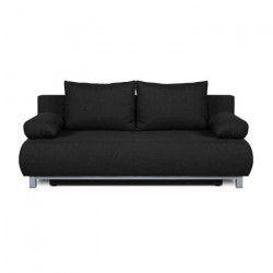 SHILO Banquette convertible 3 places - Tissu noir - Style contemporain - L 192 x P 93 cm
