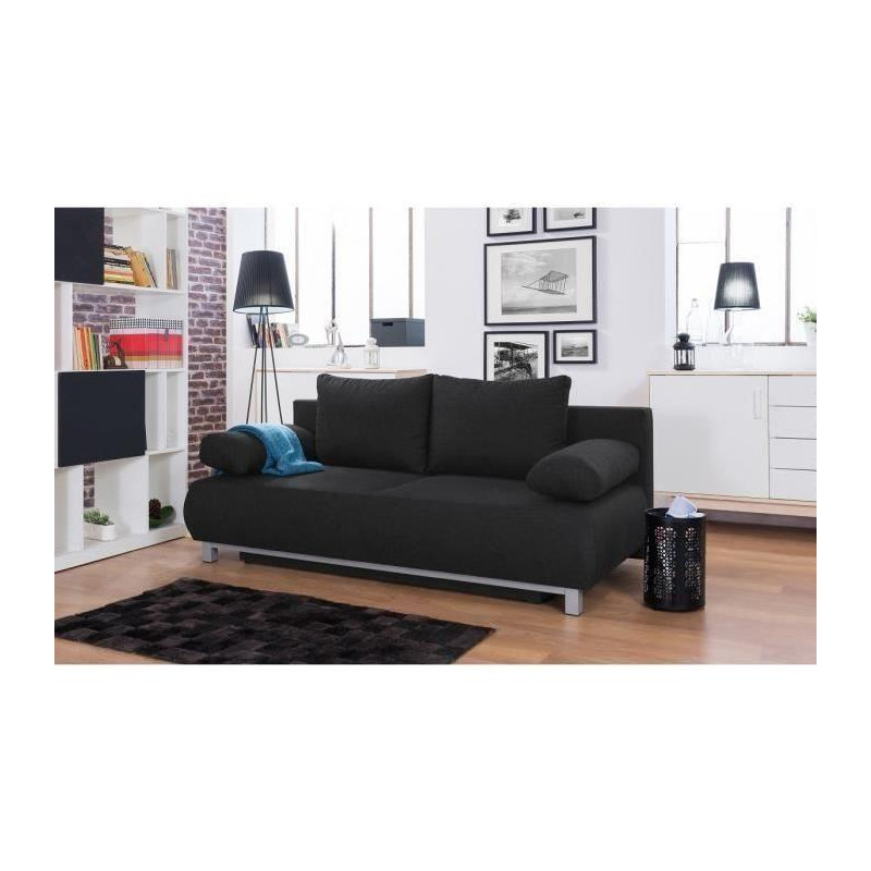 shilo banquette convertible 3 places tissu noir. Black Bedroom Furniture Sets. Home Design Ideas
