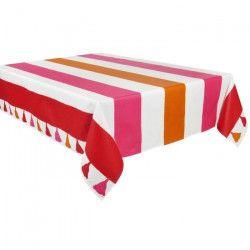 VENT DU SUD Nappe de table enduite Iraty - 160 x 250 cm - Rouge groseille