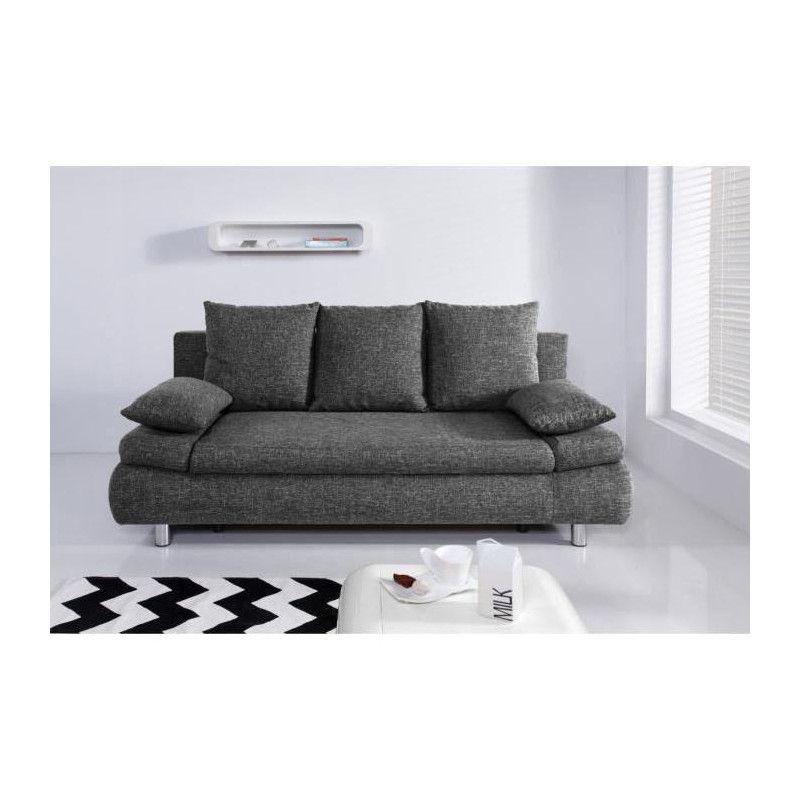 naho canap droit convertible 3 places tissu gris. Black Bedroom Furniture Sets. Home Design Ideas
