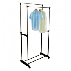 FRANDIS Portant a vetements double barre sur roulettes - 170cm