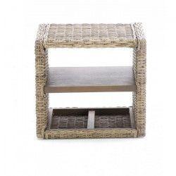 JAWA Chevet contemporain en bois d`acajou et kubu grisé - L 50 cm