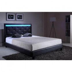 FILIP Lit adulte contemporain simili noir - Sommier et tete de lit avec LED inclus - l 160 x L 200 cm