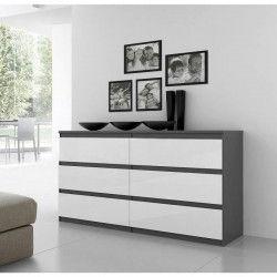 FINLANDEK Commode de chambre NATTI style contemporain gris et blanc mat - L 154 cm