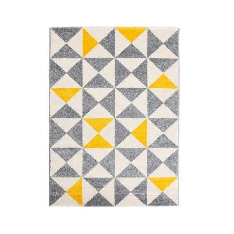 FORSA Tapis de salon jaune et anthracite 120x160 cm