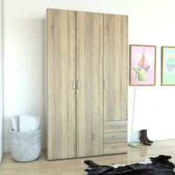 SPACE Armoire chambre adulte style contemporain - Décor chene - L 116 cm