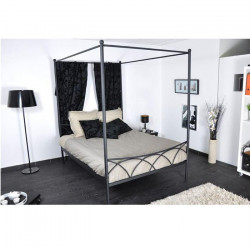 SWEET Lit baldaquin classique en métal noir mat - l 140 x L 190 cm