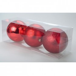 Set de 3 boules 12 cm de coloris rouge