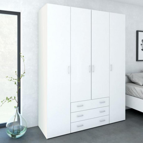 SPACE Armoire chambre adulte style contemporain - Blanc brillant - L 154 cm