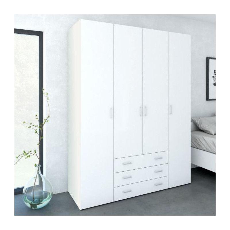 space armoire chambre adulte style contemporain blanc. Black Bedroom Furniture Sets. Home Design Ideas