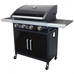 GRILL GARDEN Barbecue INFINITY américain a gaz 4 brûleurs - Acier émaillé - 69x41,5cm - Noir et gris