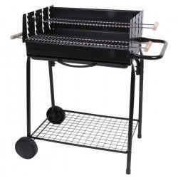 TEIDE Barbecue a charbon - Acier chromé - 88,5x56x94 cm
