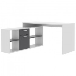 FINLANDEK Bureau d`angle TYÖ contemporain blanc et gris mat - L 140 cm