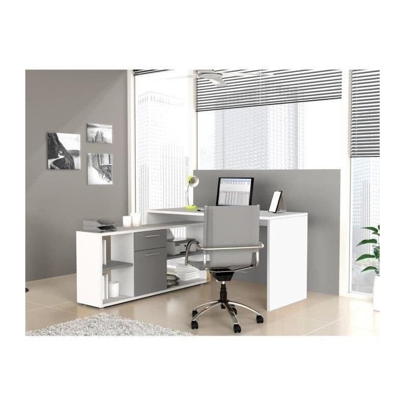 finlandek bureau d angle ty contemporain blanc et. Black Bedroom Furniture Sets. Home Design Ideas