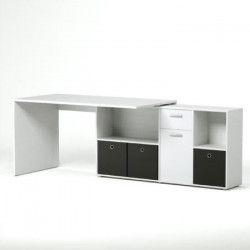 ZITO Bureau angle réversible contemporain blanc mat - L 136 cm