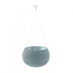 CURVER Pot de fleur - Aspect tricot - Avec suspensions - 36 cm - Bleu gris
