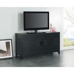 CAMDEN Meuble TV industriel en métal laqué noir - L 119 cm