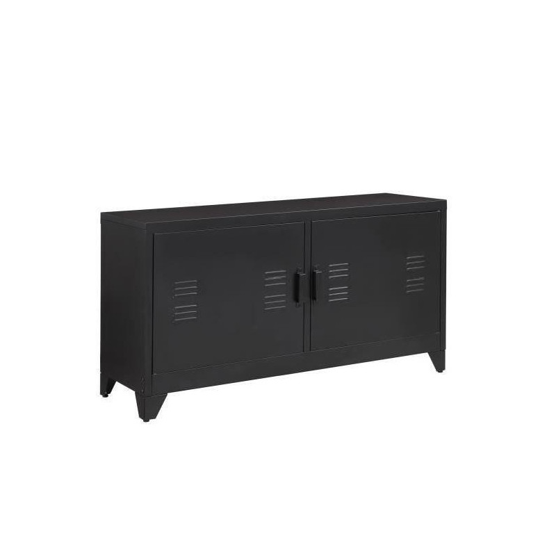 Camden meuble tv industriel en m tal laqu noir l - Meuble tv metal noir ...