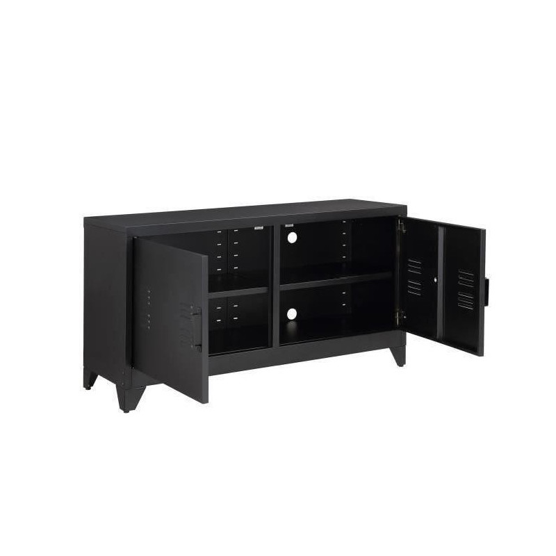 camden meuble tv industriel en m tal laqu noir l. Black Bedroom Furniture Sets. Home Design Ideas