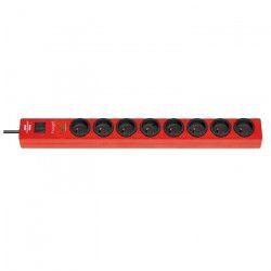 BRENNENSTUHL Bloc multiprise parasurtenseur Hugo socle rallonge 8 prises 2 m 19500A rouge carmin