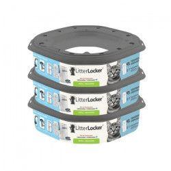 LITTER LOCKER Plus Lot de 3 recharges pour poubelle de litiere - Chat