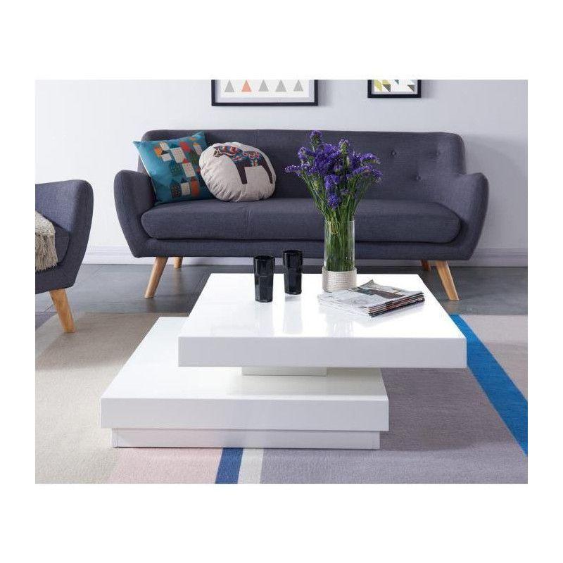 Mobilier Laque Contemporain Table Basse : Vegas table basse transformable contemporain blanc