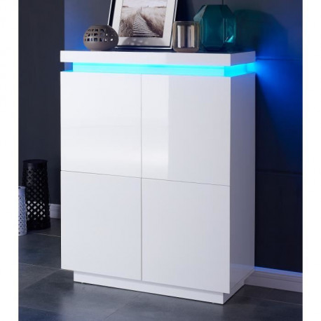 Flash Buffet Haut Avec Led Contemporain Blanc Laque