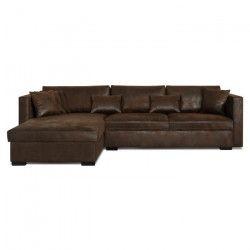 MALMA Canapé d`angle réversible 5 places - Tissu marron effet vieilli - Classique - L 290 x P 103 - 173 cm