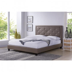 FILIP Lit adulte contemporain simili taupe - Sommier et tete de lit capitonnée inclus - l 140 x L 190 cm