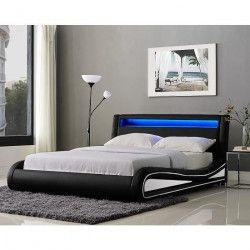 NEPTUNE Lit adulte avec LED contemporain noir et blanc + sommier l 140 x L 190 cm