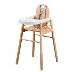 TINEO Chaise haute bois vernis naturel