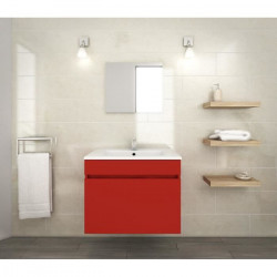 LUNA Ensemble salle de bain simple vasque L 60 cm - Rouge mat