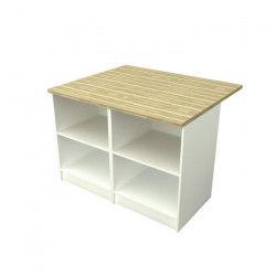 SMART Ilot de cuisine avec plan de travail inclus L 120x100 cm - Blanc et décor bois