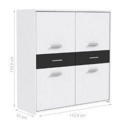 FINLANDEK Buffet haut ELÄMÄ contemporain en bois aggloméré blanc et noir - L 113 cm