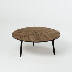 TIVOLI Table basse ronde style contemporain décor chene Antique - l 86 x L 86 cm