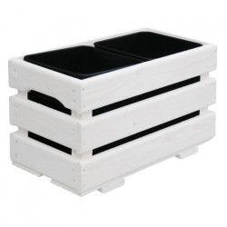 Jardiniere pour 2 pots - 43 x 23 x 26 cm - Blanc