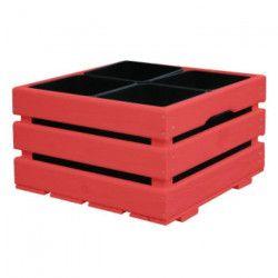 Jardiniere pour 4 pots - 43 x 43 x 26 cm - Rouge