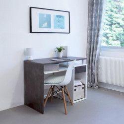 Zoe Bureau contemporain mélaminé blanc et coloris béton mat - L 99 cm