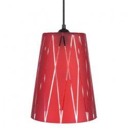 TURKU Lustre - suspension verre cône, diametre 20 cm, décoré lignes hexagonales, rouge