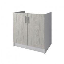 OBI Meuble sous-évier L 80 cm - Décor chene Sanremo et blanc