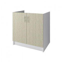 OBI Meuble sous-évier L 80 cm - Décor chene Monumental et blanc