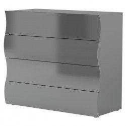 ONDA Commode de chambre style contemporain - Mélaminé gris laqué - L 98 cm
