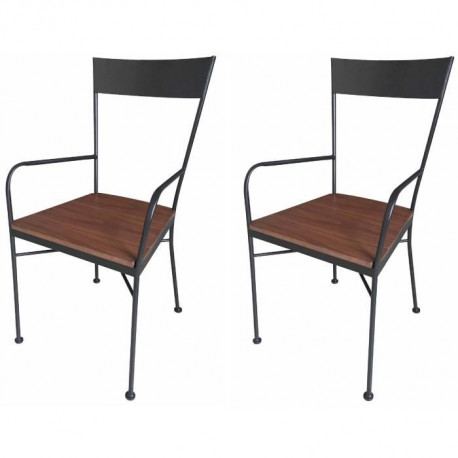 Voltage Lot De 2 Chaises De Cuisine En Metal Noir