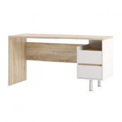 FUNCTION PLUS Bureau contemporain décor sonoma et blanc - L 150 cm
