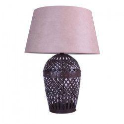 Lampe a poser en métal oxydé + abat-jour en coton creme - H 60 x Ø 48 cm
