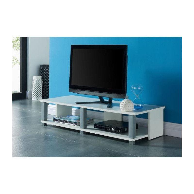 tivoli meuble tv contemporain d cor blanc l 100 cm. Black Bedroom Furniture Sets. Home Design Ideas