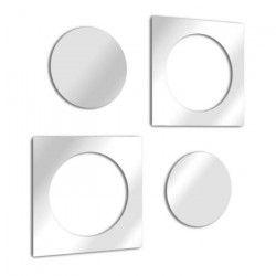 IMBRIC Miroir mural design rond et carré imbriqué en double 53x27 cm en verre acrylique