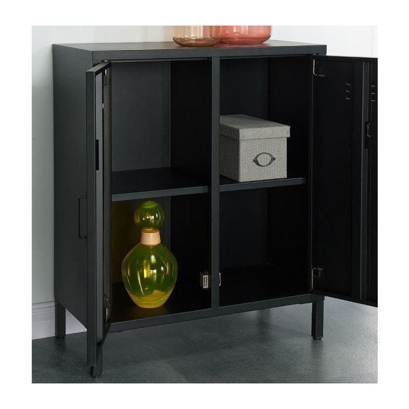 camden meuble de rangement industriel noir laqu l. Black Bedroom Furniture Sets. Home Design Ideas