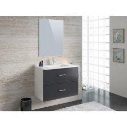 PARTY Ensemble salle de bain simple vasque L 80 cm - Gris anthracite brillant