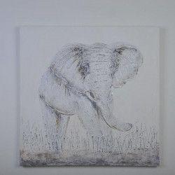 ELEPHANT1 Tableau déco toile peinte 80x80 cm blanc et beige